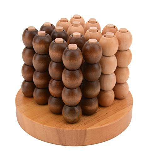 Toyvian 3D Four in a Row Wooden 3D Connect Four Chess Spatial Thinking Toy Space Thought Desktop Chess Game Educational Toys