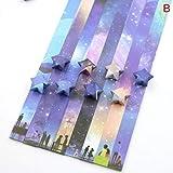Papel Plegable Estrella de la Suerte Cinta de Papel Cielo Universo patrón Origami artesanía Hecha a Mano Tarjeta para el hogar decoración de Regalo - Verde Claro