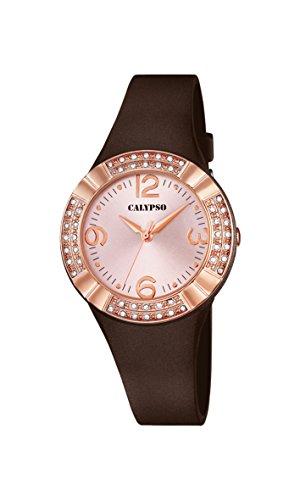 Calypso–Reloj de Cuarzo para Mujer con Rosa Esfera Analógica Pantalla y Correa de plástico de Color marrón K5659/3