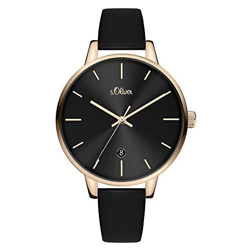 s.Oliver Damen Analog Quarz Uhr mit Leder Armband SO-3816-LQ