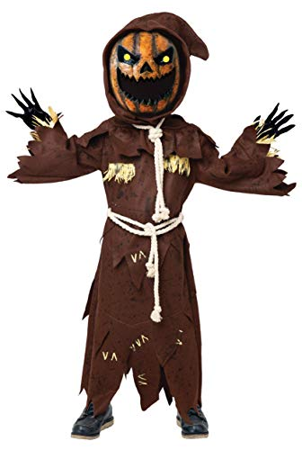 Scary Scarecrow Pumpkin Bobble Head Costume w/Pumpkin Halloween Mask for Kids Role-Playing (Small(5-7yr))