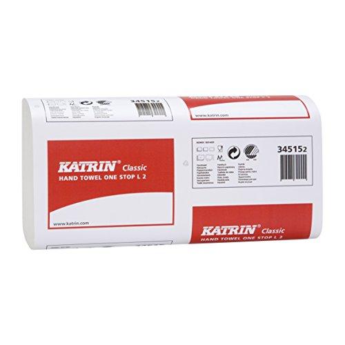 1 Karton Handtuchpapier, Papierhandtücher Katrin Classic One Stop L2 von metsä tissue (Art. 345152) Format: 23,5x34cm 2-lagig, weiss, 2.310 (21x110) Blatt/Karton