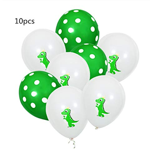 MALAT 24pcs/lot Color Dinosaur cake topper flag birthday party cake Decor baby shower kids party supplies cupcake topper,green latex 10pcs