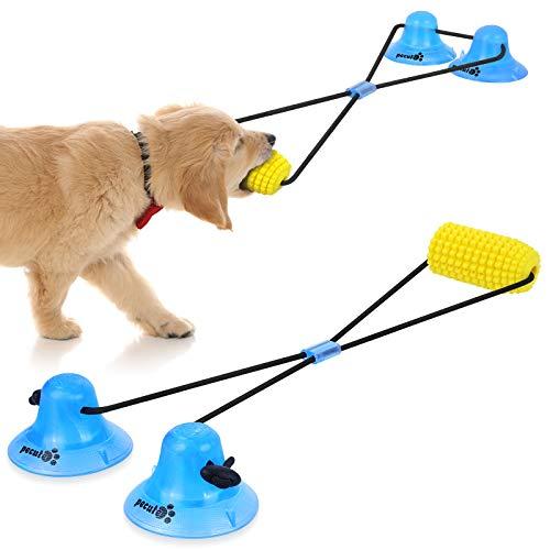 Pecute Juguete Masticable Interactivo para Perros, Pelota de Juguete para Perros con 2 Ventosas, Duraderos, Limpieza de Dientes, Juguetes Educativos para Cachorros Perros Grandes, medianos y pequeños