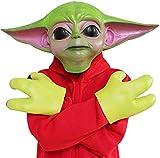 Feeyond Star Wars Cosplay Mandalorian Baby Yoda Mask Guantes Máscara De Látex De Halloween Disfraz Casco Adulto,Mask