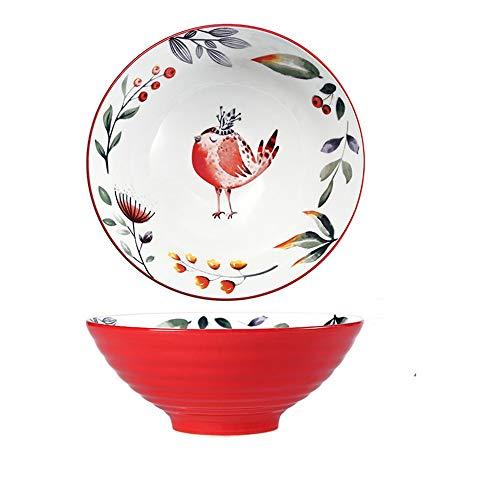 Ramen Schüssel, Großer Vogel Japanischer Schüssel mit Stäbchen 900ml, Vintage Ramen Bowl Salatschüssel, Persönlichkeit Suppenschüssel für Müsli, Udon Nudel, Vorspeise