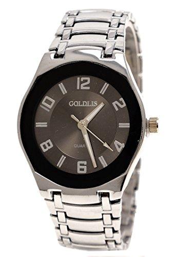 Super Flache Armbanduhr Silber - Dunkles Ziffernblatt