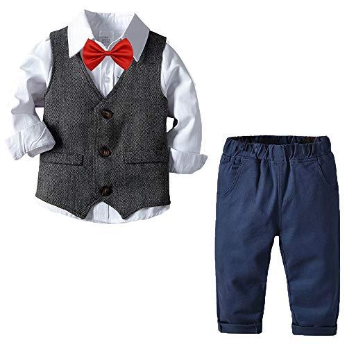 Echinodon [Bekleidungsset Junge Festlich Anzug Hemd mit Fliege + Weste + Hose Kinder Gentleman Set Baby Taufe 100