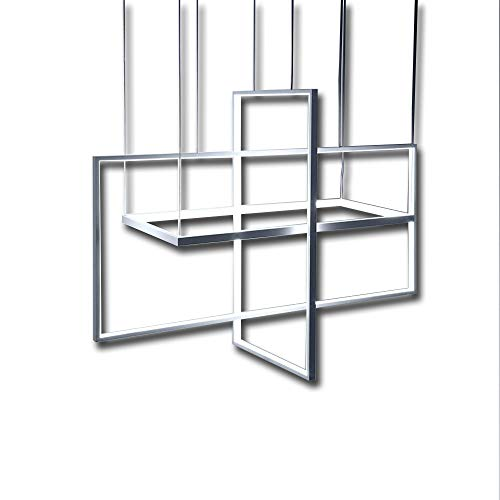 moderne suspension LED 3 Design Rectangulaire Télécommande réglage en suspension à intensité variable Lampe design Cadre métal Salle à manger réglable hauteur Table Salon lustre Weiß Längliche 60cm