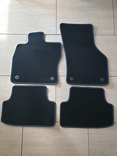 Premium Komet Autoteppich Automatten für Phaeton kurz ab 01.03 (950021) mit Feuerlöscher mit Nubuk Rand und ziernaht rot oder blau