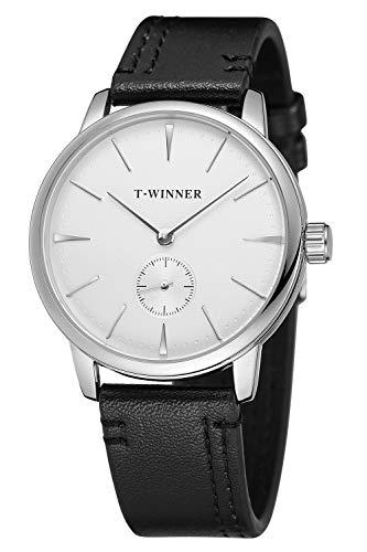 Herren Lederband Steampunk Vintage mechanische Handaufzug Armbanduhr