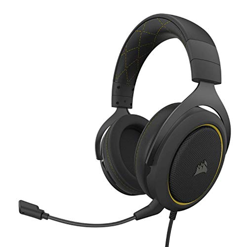 Corsair HS60 Pro – 7.1 Virtual Surround Sound PC Gaming Headset mit USB DAC – Discord zertifizierte Kopfhörer – kompatibel mit Xbox Series X, Xbox Series S, Xbox One, PS5, PS4, Nintendo Switch – Gelb
