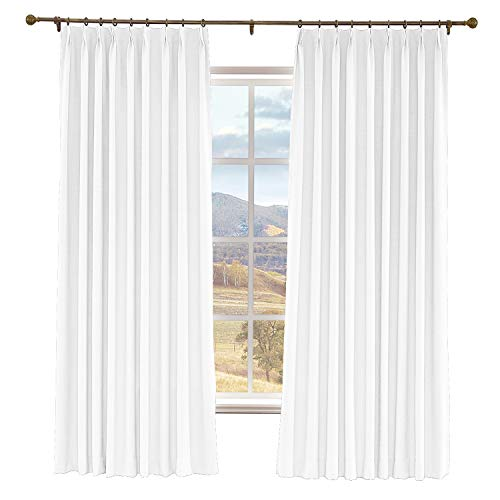 Prim Blackout Thermal Insulated Curtain Room Darkening Extra Long Linen Pinch Pleated Drape for Living Room, Snow White, 52 x 108 Inches, 1 Panel