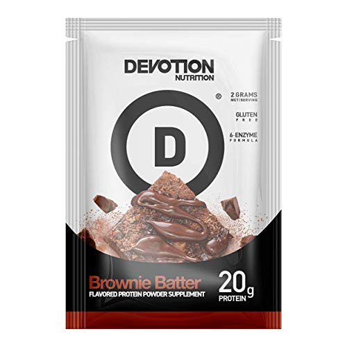 Devotion Nutrition Whey Protein Powder Blend, Brownie Batter Flavor, 20g Protein, No Added Sugars, 12 Single Serving Packets, Packaging May Vary