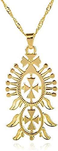 CCXXYANG Co.,ltd Collar Collar con Colgante De Estilo Etíope A La Moda Joyería Llena De Cadena De Color Cruz Copta De Eritrea Africana Collares De Regalo De Abisinia Longitud 50 Cm