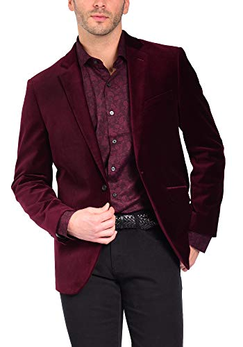 Craft & Soul Men's Slim Fit Stretch Velvet Blazer Jacket Sport Coat Burgundy