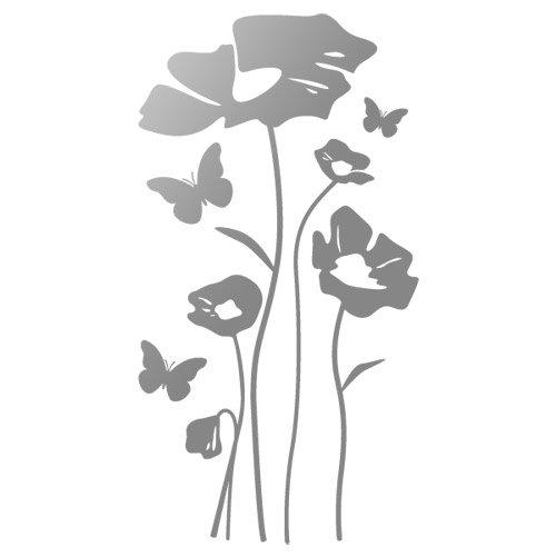 Sticker Coquelicots et Papillons Argent 74x140 cm