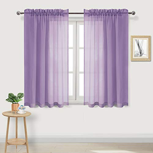 DWCN Lavender Sheer Curtains Semi Transparent Voile Rod Pocket Curtains for Bedroom and Living Room, 52 x 54 inches Long, Set of 2 Panels