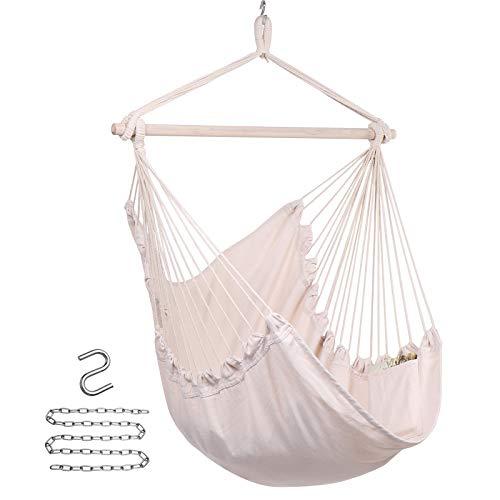 Y- STOP Hammock Chair Hanging Rope Swing - Max 330 Lbs -...