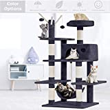 Lucky Shop Cat Tree Cat Condos and Towers withScratchingPost CatHammock Cat Condo House Cat TreeHouse 56 Inches Modern Cat Tower Cat Activity Tree Condo Playground for Indoor Cat (Grey)