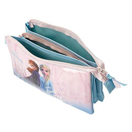 41v57L6+DbL - Disney Estuche Frozen True To Myself con Tres Compartimentos, Azul