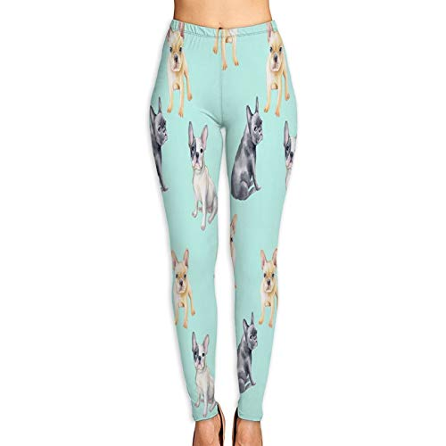 QUKEFU Yoga Pants,Watercolor Seamless Pattern French Bulldog Pet,Women's Stretch Tights Pants High Waisted Tummy Control Workout Running Pants XL