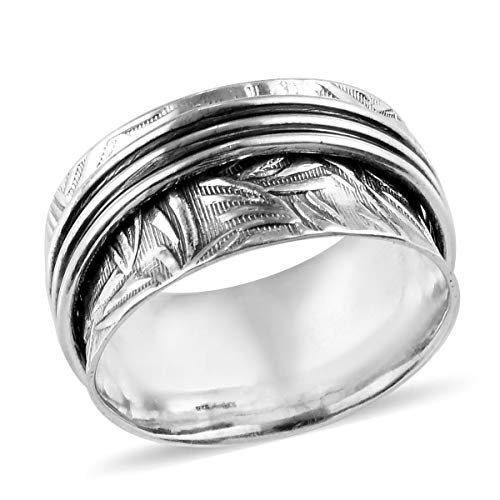 Stress Relieving Meditation Oxidized Spinner Ring 925 Sterling Silver Boho Handmade Fashion Jewelry for Women Graduation Gifts for Her