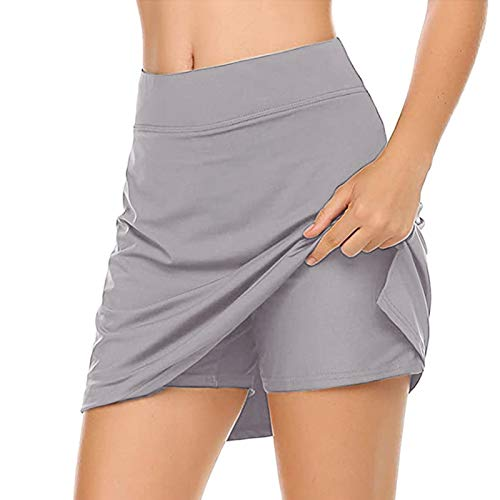 LowProfile Tennis Skorts for Women Summer, 2 in 1 Golf Skirts with Shorts Workout Running Yoga Skort Gym Activewear,a142 Gray