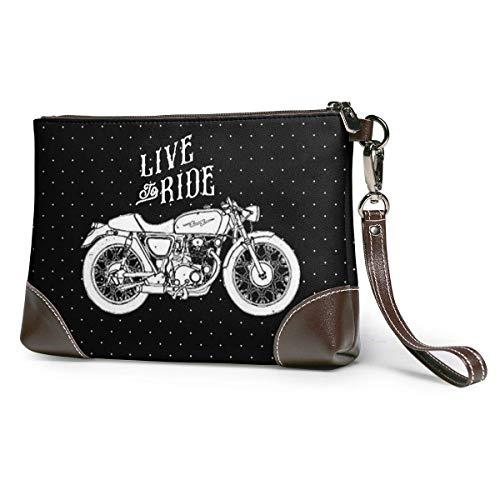 BFDX Motocicleta Personalizada Inspirada en monederos de Cuero para Mujer Carteras de Tarjetas telefónicas de Embrague