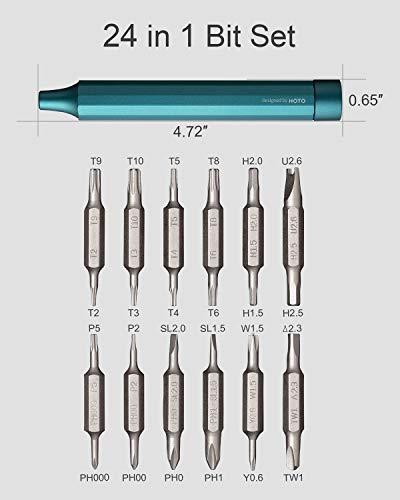 HOTO Screwdriver Sets, 24-in-1 Mini Screwdriver Set, Precision Screwdriver Set with 24 pcs Tough S2 Alloy Steel Bits, Pen Shape Screwdriver, Dark Turquoise