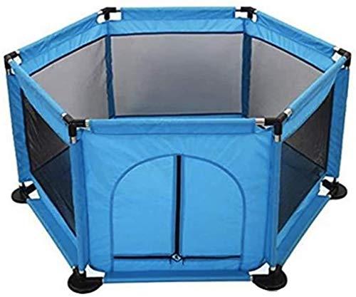FEIGER New Baby Playpen 6 Lados con Puerta Redonda con Cremallera Play Pen para niños pequeños Valla con Bolas Incluidas (Azul)