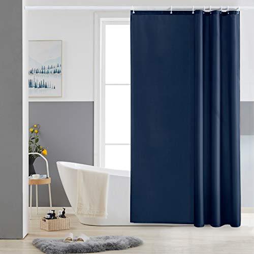 Furlinic Duschvorhang 120x180 Textil Badvorhang aus Polyester Stoff Schimmelresistent Wasserabweisend Waschbar Dunkelblau mit 8 Duschvorhangringen.