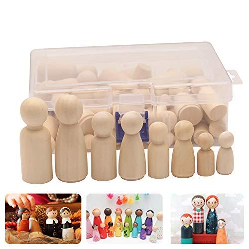 Holzfiguren Puppen, 50 Stück Unvollendete Holz Familie Figuren, Humanoide Marionette Kinderspielzeug Puppe Spielzeug, DIY Natürliche Holzfiguren Hochzeit für Geburtstag Dekoration Bemalen Basteln