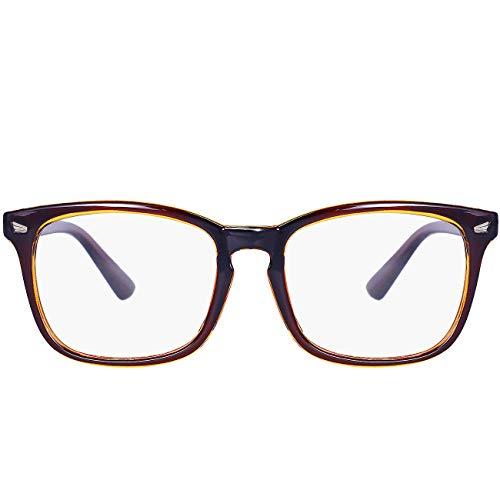 Maxjuli Blue Light Blocking Glasses,Computer Reading/Gaming/TV/Phones Glasses for Women Men(Brown)
