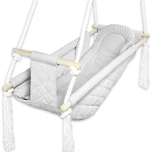 BlueKitty Wiege; Schaukel; Liegestuhl für Kinder; Babyschaukel; Kinderschaukel mit Kissen; Schaukel für Haus und Garten; Babyschaukel, Stoffschaukel, Kleinkindschaukel, Holzschaukel
