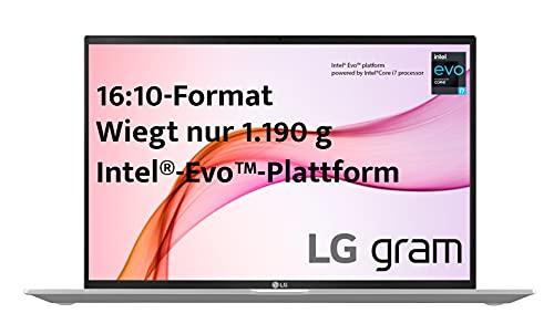 LG gram 16 Zoll Ultralight Notebook 2021 Edition - 1,19 kg leichter Intel Core i7 Laptop (16GB LPDDR4, 512GB SSD, 22 h Akkulaufzeit, WQXGA IPS Bildschirm, Th&erbolt 4, Windows 10 Home) - Silber
