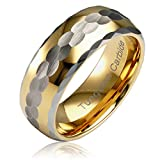 Tungsten Mens Wedding Band Two Tone Gold Silver Hammer Finish Facet Cut Edg Size 6-16 (custom text engraving, 10)