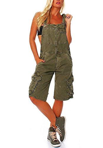 Jet Lag Damen Overall Shorts mit Brusttasche mit Brusttasche Capulet Olive L