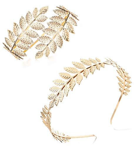 Finrezio Greek Goddess Headband Arm Cuff Bridal Jewelry Set Roman Laurel Leaf Branch Crown Armlet Upper Arm Band Bracelet Adjustable (A:Gold Tone)