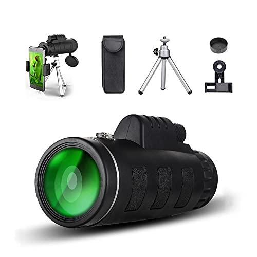 Senderismo monocular, 2021 más Nuevo HD Monocular Impermeable, HD 40x60 Monocular de Alta definición con Smartphone Adaptador trípode para Tiro de Tiro a pájaro de Aves Paisaje de Vida Silvestre