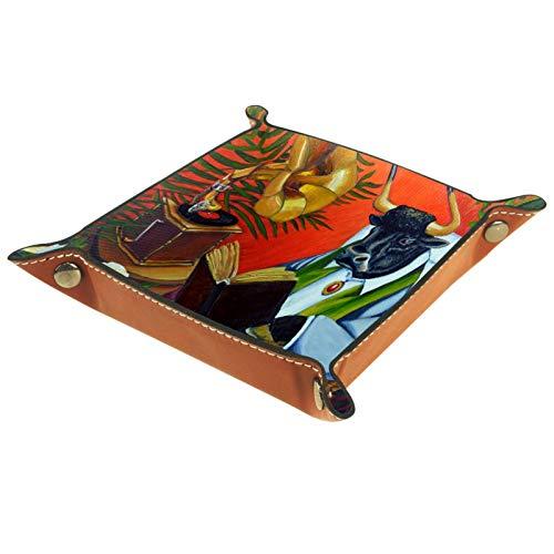 YATELI Caja de Almacenamiento pequeña, Bandeja de Valet para Hombre,Toro Vaca Libro Silla de Mimbre,Organizador de Cuero para Llaves de Caja de Monedas