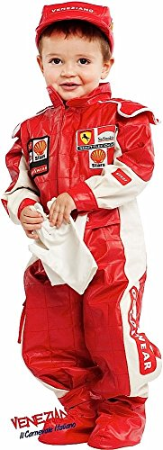 Italian Made Deluxe Baby & Older Boys Girls Red Racing Driver Car Racer Sports Fancy Dress Costume Outfit 0-12 Years (3 Years)