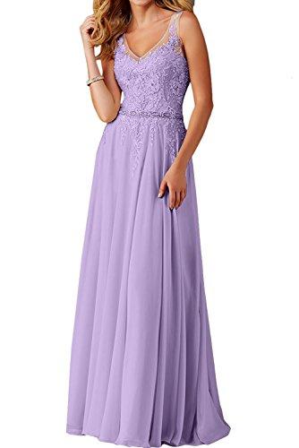 La_Marie Braut Flieder Langes Spitze V-Ausschnitt Abendkleider Brautjungfernkleider Ballkleider festlichkleider-36 Flieder