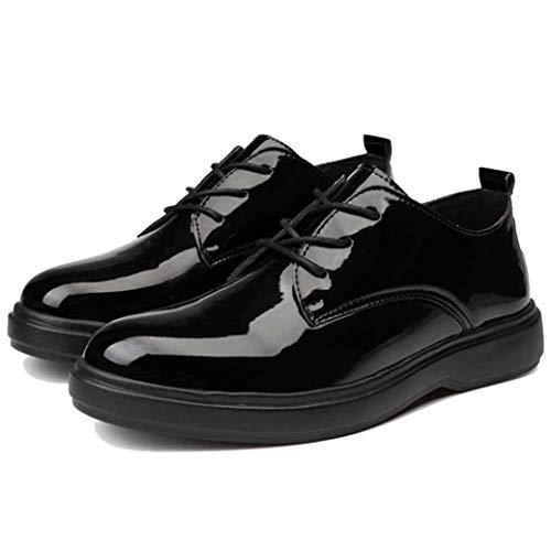 Zapatos de Negocios para Hombres Zapatos de Charol Impermeables con Cordones Punta Redonda Zapatos de Caminata Casuales Planos Parte Inferior Gruesa Traje Negro clásico Zapatos de Vestir Mascu