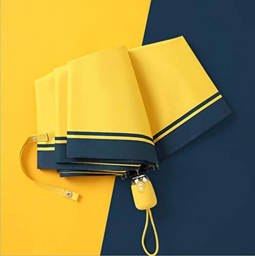 Paraplu Automatische regen en zon voor vrouwen en mannen Cover zon paraplu vouwen paraplu Japanse paraplu zwarte plastic paraplu Sen volwassen eenvoudig [geel geel]
