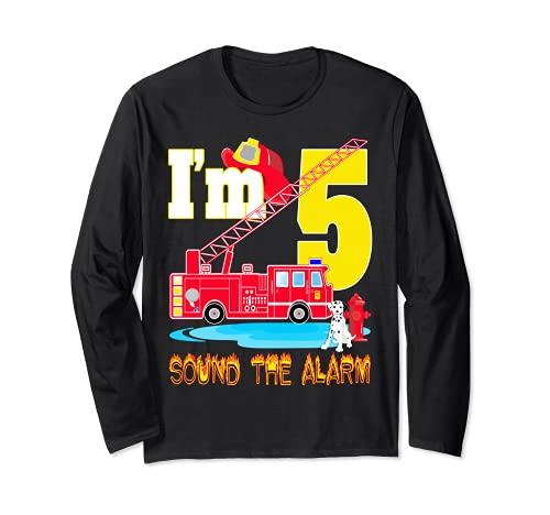 I'm 5 Sound The Alarm camión de bomberos juguete regalo fiesta de cumpleaños niño Manga Larga