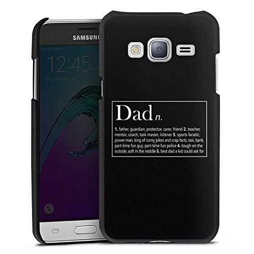 DeinDesign Cover kompatibel mit Samsung Galaxy J3 Duos 2016 Lederhülle schwarz Leder Hülle Leder Handyhülle Dad Papa Vater Vatertag