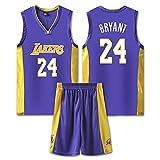 QJJ Kobe Bryant # 24 Traje De Chaleco Y Pantalones Cortos De Baloncesto, Los Angeles Lakers Kit De Uniforme De Baloncesto Clásico Bordado Swingman Jersey para Hombres, F Kobe Purple-XXXXL