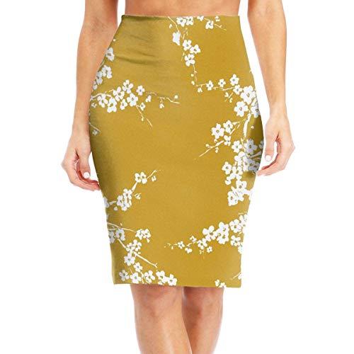 MrRui mosterd gele pruim bloem vrouwen mode bedrukte potlood rok