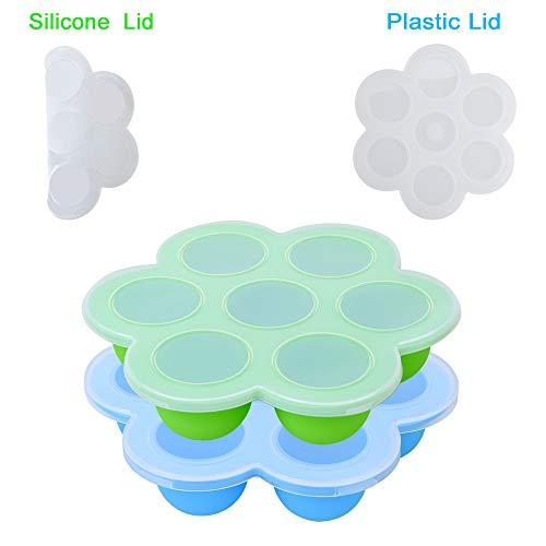 Zeattain 2 Stück Silikon Babynahrung Aufbewahrung Behälter, Tiefkühlbehälter für Babynahrung - 100% BPA-freie und FDA-Zertifizierung - Blau & Grün